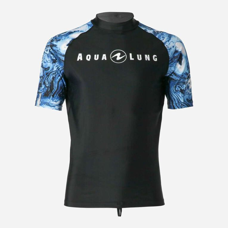 Aqua Rashguard Short Sleeve - Men, Navy blue/White, hi-res image number 0