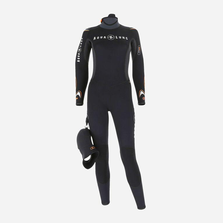 Dive 7mm Wetsuit Women, Black/Orange, hi-res image number 0