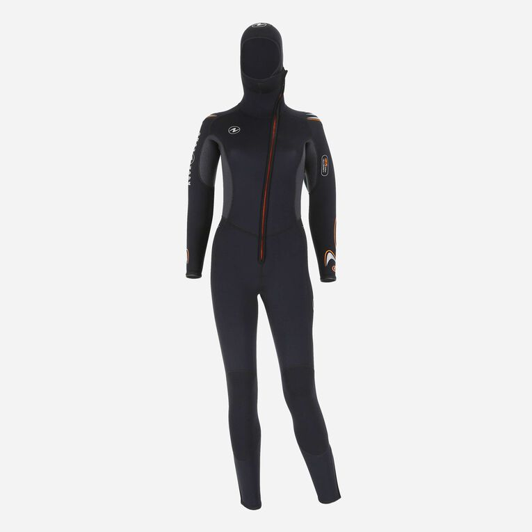 Dive 6mm Wetsuit with hood, Black/Orange, hi-res image number 0