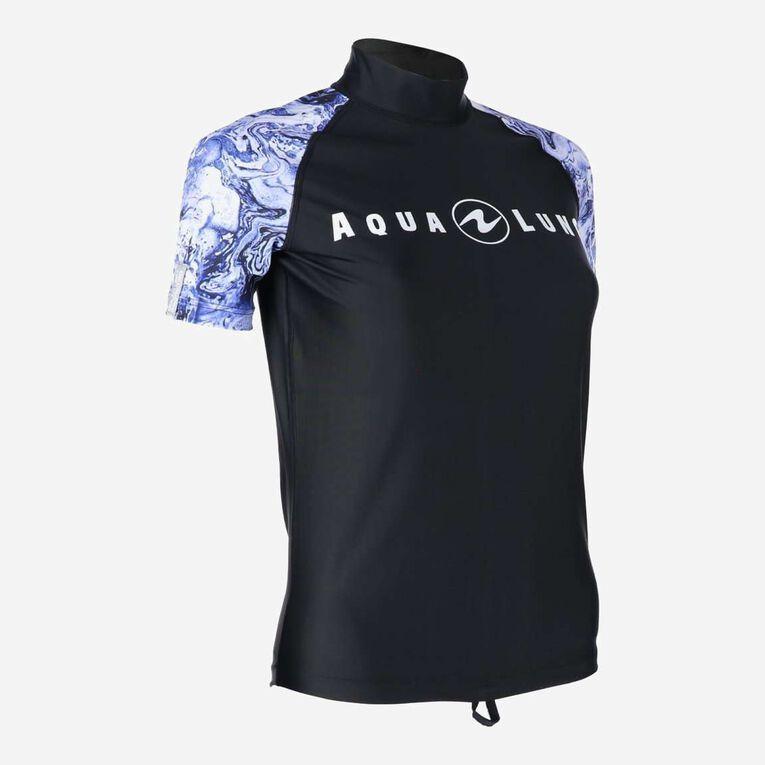 Aqua Rashguard Short Sleeve - Women, Purple/White, hi-res image number 1