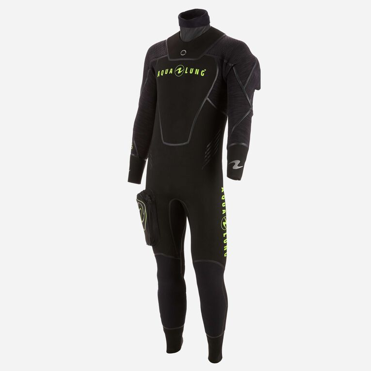 Iceland 7mm Semi-Dry Wetsuit Men, Black/Hot lime, hi-res image number 2