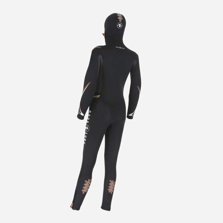 Dive 6mm Wetsuit with hood, Black/Orange, hi-res image number 1