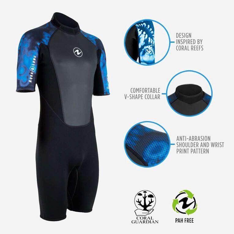 HydroFlex 3mm Coral Guardian Shorty Men, Black/Blue, hi-res image number 1